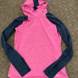 NWT under armour pink and navy long sleeve hoodie